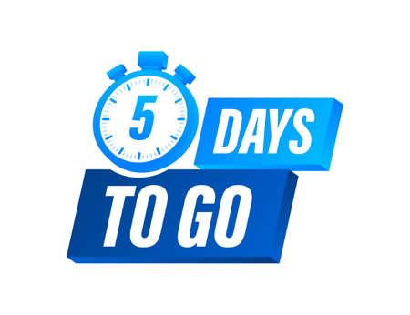 Faltan 5 dias. Contador regresivo. Icono de reloj. Icono de tiempo. Cuenta el tiempo de venta. Ilustración vectorial de stock