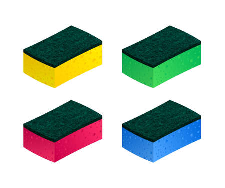 Scouring pads spong for housework cleaning and scouring pad domestic spong work tools. Vector stock illustration Vettoriali