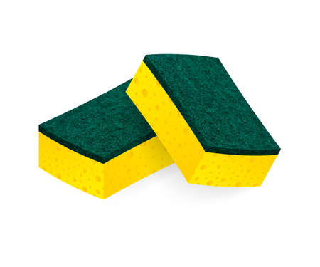 Scouring pads spong for housework cleaning and scouring pad domestic spong work tools. Vector stock illustration Ilustração