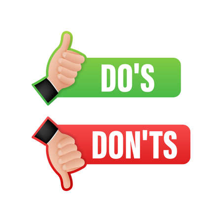 Dos and Donts like thumbs up or down. flat simple thumb up symbol minimal round logotype element set graphic design isolated on white. Vector stock illustration Logo