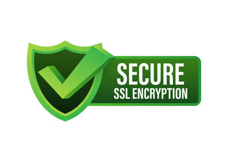 Secure connection icon vector illustration isolated on white background, flat style secured ssl shield symbols