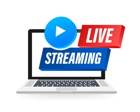 Live Streaming label on laptop screen. Can be used for business concept. Vector stock illustration Ilustração