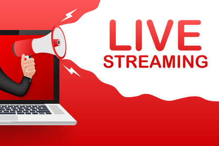 Live streaming, megaphone no laptop screen. Can be used for business concept. Vector stock illustration