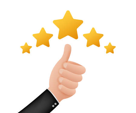 Thumbs up. Customer evaluation. Customer review rating. Vector stock illustration