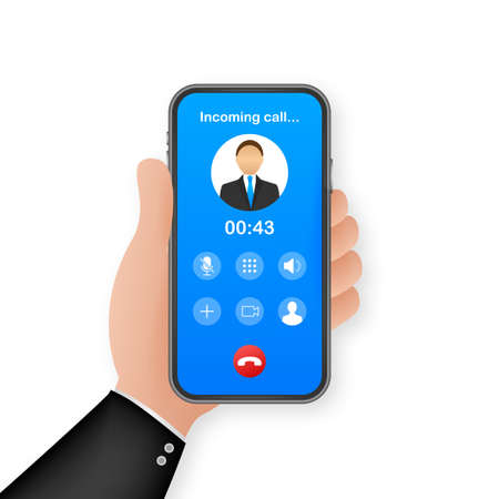 Smartphone with incoming call on display. Incoming call. Vector stock illustration Vektorové ilustrace