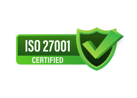 ISO 27001 Certified badge, icon. Certification stamp. Flat design vector