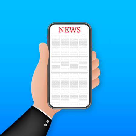 Flat news on smartphone for site design. Smartphone, mobile phone. Online reading news. Vector stock illustration