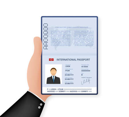 Blank open passport template. International passport with sample personal data page. Vector stock illustration Vectores