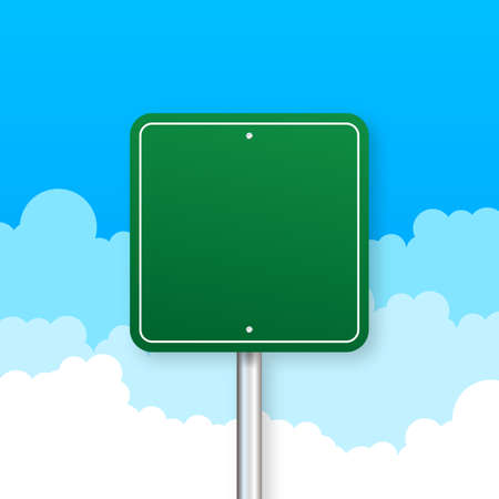 Road signs on blue background. Vector stock illustration