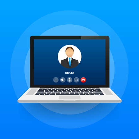 Incoming video call on laptop. Laptop with incoming call, man profile picture and accept decline buttons. Vector stock illustration