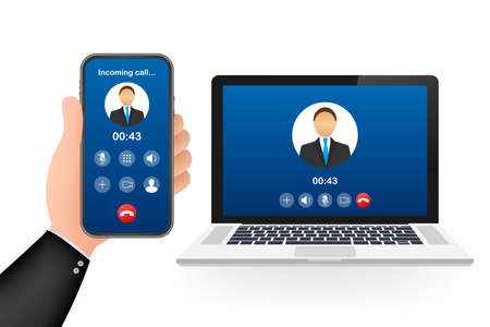 Incoming video call on laptop. Laptop with incoming call, man profile picture and accept decline buttons. Vector stock illustration Vettoriali