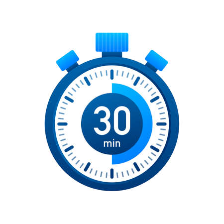 The 30 minutes, stopwatch vector icon. Stopwatch icon in flat style, timer on on color background. Vector illustration