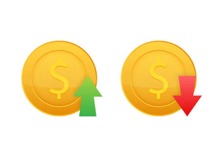Up and Down Dollar Sign on white background. Vector stock illustration