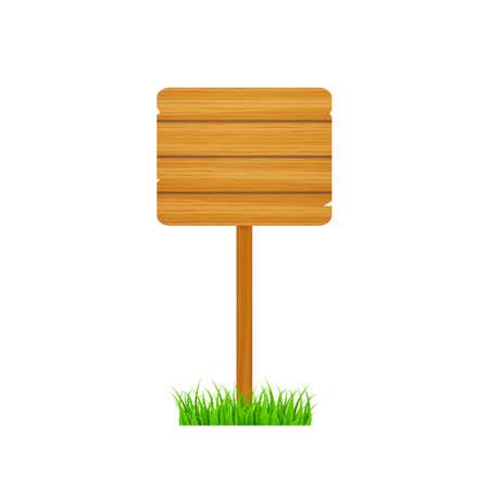 Wood sign in vintage style. Wooden signpost. Banner design. Vector stock illustration