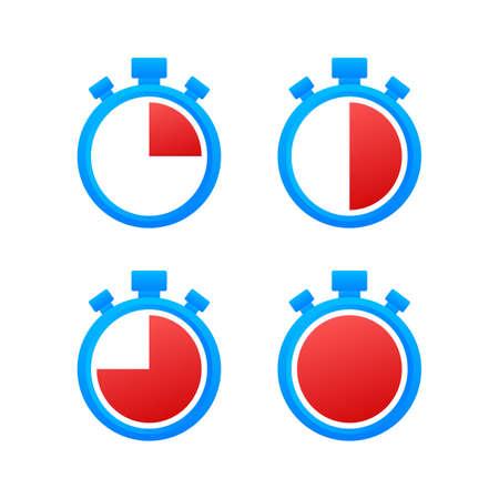 Sport background. Vector set. Set on white backdrop. Stopwatch vector illustration icon. Countdown timer. Vector stock illustration.
