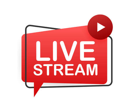Live stream flat- red vector design element with play button. Vector illustration Vettoriali