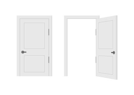 Open end closed door. Interior design. Business concept. Front view. Home office concept. Business success