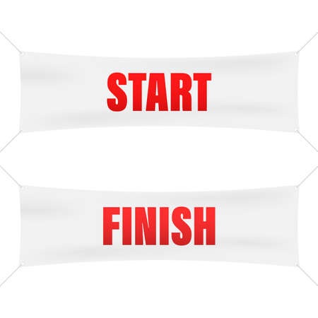 Start finish. Winner banner. Flat line cartoon vector illustration