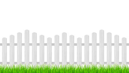 Wooden fence and grass. Vector stock illustration