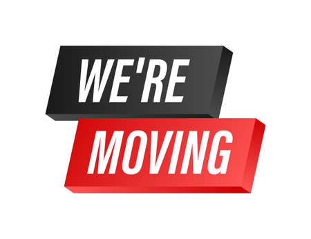 We're moving icon badge. Ready for use in web or print design. Vector stock illustration