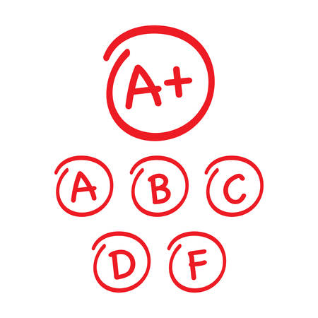 Grade results set. Hand drawn vector grade in red circle. Vector illustration