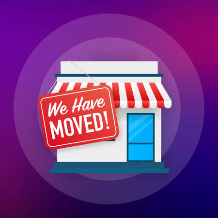 We have moved. Moving office sign. Clipart image isolated on blue background. Vector illustration Vector Illustratie