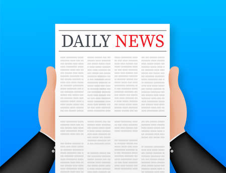 Vector mock up of a blank daily newspaper. Fully editable whole newspaper in clipping mask. Vector stock illustration.