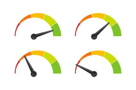 Rating customer satisfaction meter. Different emotions art design from red to green. Abstract concept graphic element of tachometer, speedometer, indicators, score. Vector stock illustration