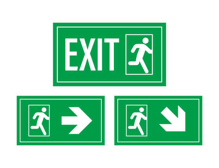 Emergency exit sign. Protection symbol. Fire icon. Vector stock illustration