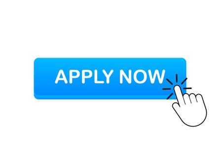 Apply now. Web banner. Arrow, cursor icon. Arrow vector icon. Hand click. Vector stock illustration