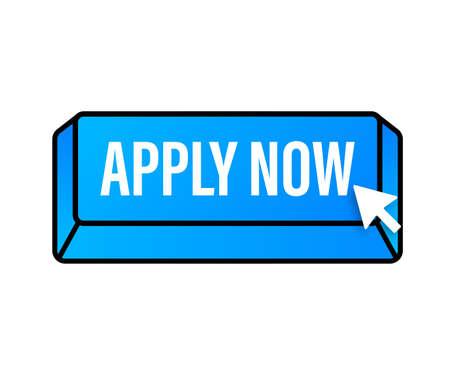 Apply now. Web banner. Arrow, cursor icon. Arrow vector icon. Hand click. Vector stock illustration Vector Illustration