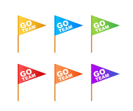 Go Team Triangle Banner. Go team in cartoon style. Vector stock illustration