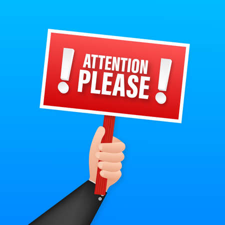 Attention please. Business infographic template. Megaphone banner. Vector stock illustration
