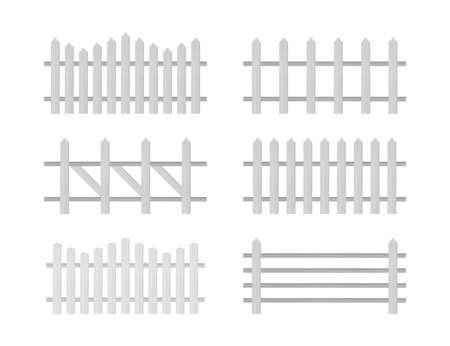 Clôture en bois. Clôture rustique, piquets Vector illustration stock Vecteurs