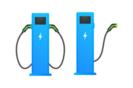 Electric vehicle charging station icon. Flat ev charge. Electric car. Vector stock illustration.