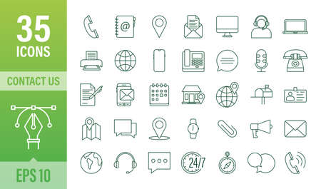 Trendy icon with contact us Thin line business icon set. for web design. Vector stock illustration.