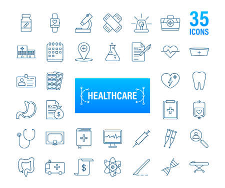Infographic with healthcare icon for medical design. Medical insurance. Vector stock illustration