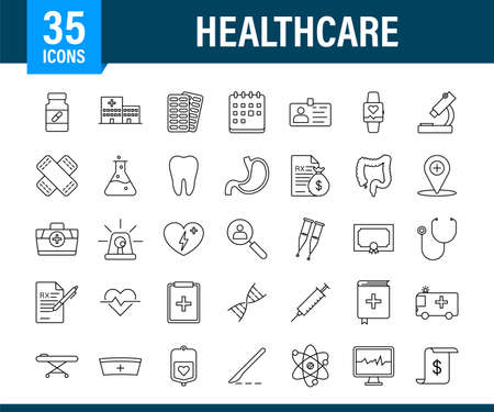 Infographic with healthcare icon for medical design. Medical insurance. Vector stock illustration.