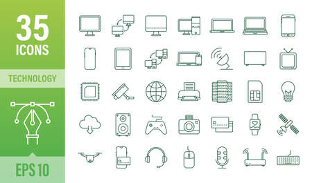 Technology icon on white background. Information technology. Digital communication. Device icon. Global network connection. Vector stock illustration.