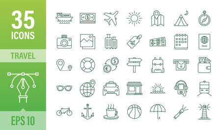 Set travel icon for web design. Business icon. Vector stock illustration.