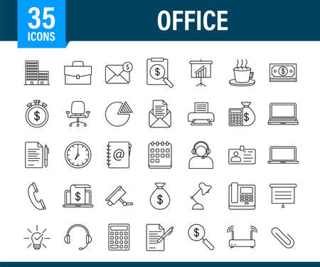 Office icon. Web icon set. Office, great design for any purposes. Vector stock illustration. Ilustração