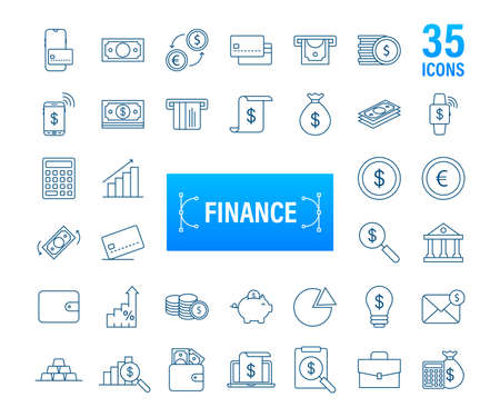 Money, finance, payments. Set outline web icon. Vector stock illustration. Ilustrace