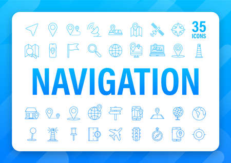 Navigation and Map line icons set. Vector stock illustration