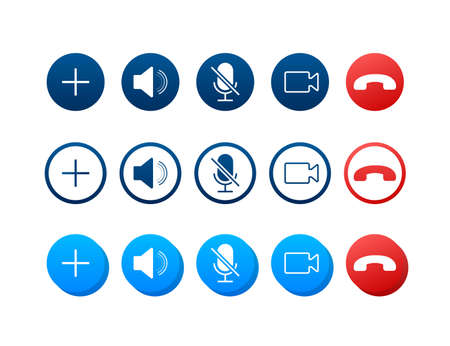 Set of Video call buttons. Web design.Video call buttons for mobile app design. Vector stock illustration.  イラスト・ベクター素材