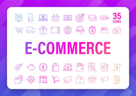 Shopping set icon for web design. E commerce. Discount coupon. Business icon. Price tag. Line vector. Vector stock illustration