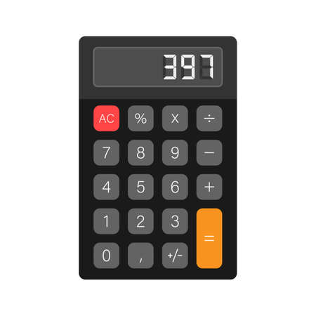 Black calculator white background. Modern design. Electronic portable calculator. Vector stock illustration  イラスト・ベクター素材