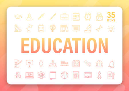 Set icon education for mobile app design. Online course line icon set. Online study, education. Vector stock illustration