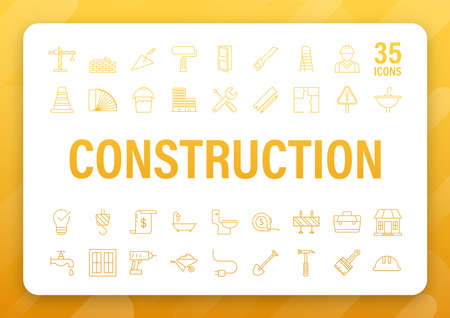 Outline web icons set. Construction and home repair tools, building. Work safety. Vector stock illustration  イラスト・ベクター素材