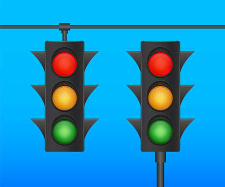 Traffic lights banner on blue background. Vector stock illustration.