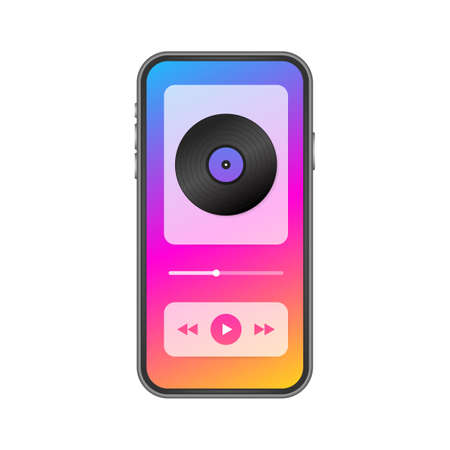 Mobile Application Interface. Music Player. Music app. Vector stock Illustration.